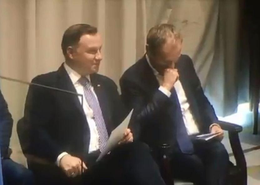 Andrzej Duda i Donald Tusk nagrani podczas rozmowy w Nowym Jorku