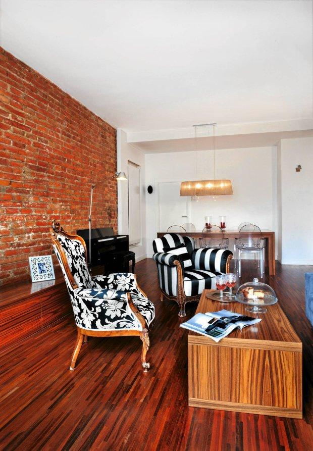 salon, ceglana ściana, aranżacje wnętrz