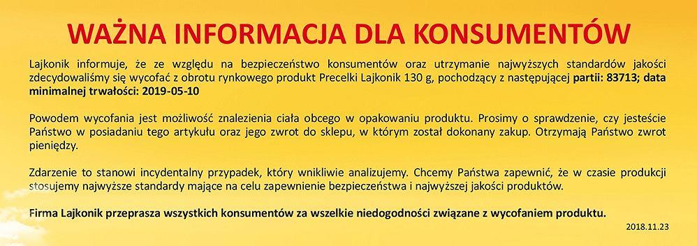 Oświadczenie firmy Lajkonik w sprawie wycofanej partii produktu