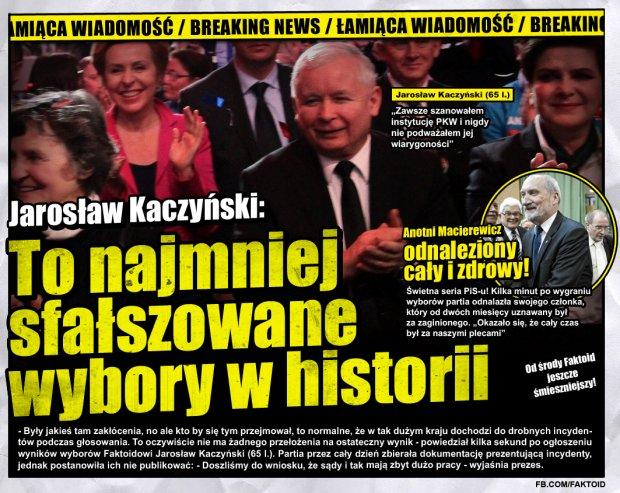 Faktoid: To były najmniej sfałszowane wybory w historii - Jarosław Kaczyński: To były najmniej sfałszowane wybory w historii - Faktoid