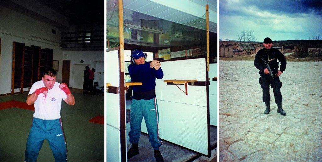 Po prawej i w środku szkolenie Zespołu Bliskiego Zabezpieczenia (ZBZ) w Legionowie, 2001 rok. Po prawej szkolenie SPAP Gdańsk na poligonie Wędrzyn, 1987 rok. W tle miasteczko wybudowane specjalnie w celu szkolenia jednostek specjalnych (fot. archiwum prywatne)