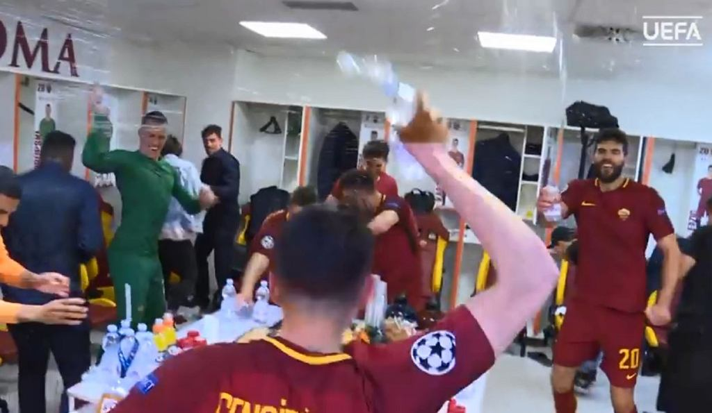 Piłkarze AS Romy po awansie do półfinału Ligi Mistrzów