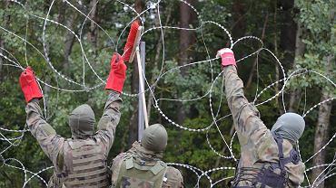 Wojsko budujące płot na granicy polsko-białoruskiej