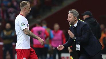 Kamil Grosicki i Jerzy Brzęczek w meczu reprezentacji Polski ze Słowenią