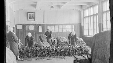 Fabryka Wyrobów Tytoniowych przy ul. Dzielnej była na początku XX w. jedną z najnowocześniejszych w Warszawie. Sprowadzono tu maszyny, ale robotnice liście tytoniu dalej segregowały ręcznie.