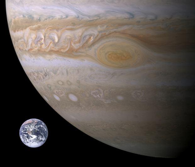 Porównanie rozmiarów Jowisza i Ziemii