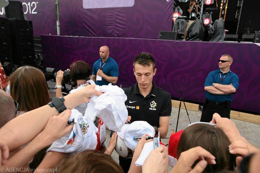 Piłkarze polskiej reprezentacji rozdawali w Strefie Kibica autografy