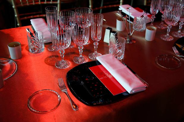 A view of the table set for Princess Charlene of Monaco at the Red Cross Gala in Monte Carlo August 2, 2013. The Red Cross ball is a traditional and annual charity event in the Principality of Monaco. REUTERS/Eric Gaillard (MONACO - Tags: ENTERTAINMENT ROYALS)