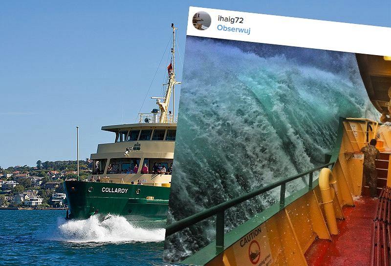 Ogromna fala obok promu na zatoce Sydney