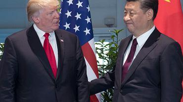 Prezydent USA Donald Trump i prezydent Chin Xi Jinping podczas szczytu G-20 w Hamburgu, 8 lipca 2017 r.