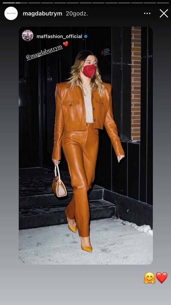 Hailey Bieber w kostiumie od polskiej projektantki