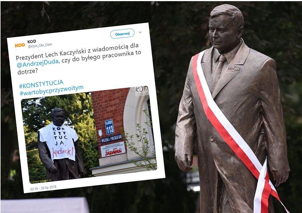 Sąd odmówił wszczęcia postępowania ws. koszulki z napisem 'Konstytucja' na pomniku Lecha Kaczyńskiego