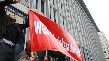 5 października 2006 roku. Pikieta pod Sądem Okręgowym w Warszawie. Protestowali poszkodowani przez Dom Maklerski WGI.