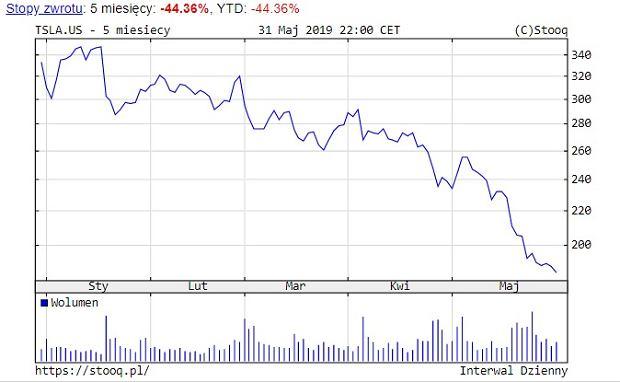 Cena akcji Tesli na przestrzeni ostatnich 5 miesięcy