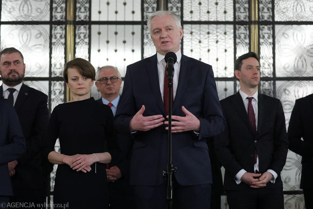 Członkowie Porozumienia na czele z Jarosławem Gowinem