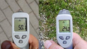 Temperatura na chodniku, przy przystanku na os. Chabry - 50,7 stopni Celsjusza, oraz trawnik za blokiem w cieniu - 24 stopnie Celsjusza