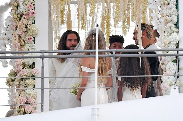 Heidi Klum and Tom Kaulitz are seen getting married on Christina O yacht on August 03, 2019 in Capri, Italy.    Pictured: Heidi Klum and Tom Kaulitz      World Rights, No France Rights, No Italy Rights, No Switzerland Rights