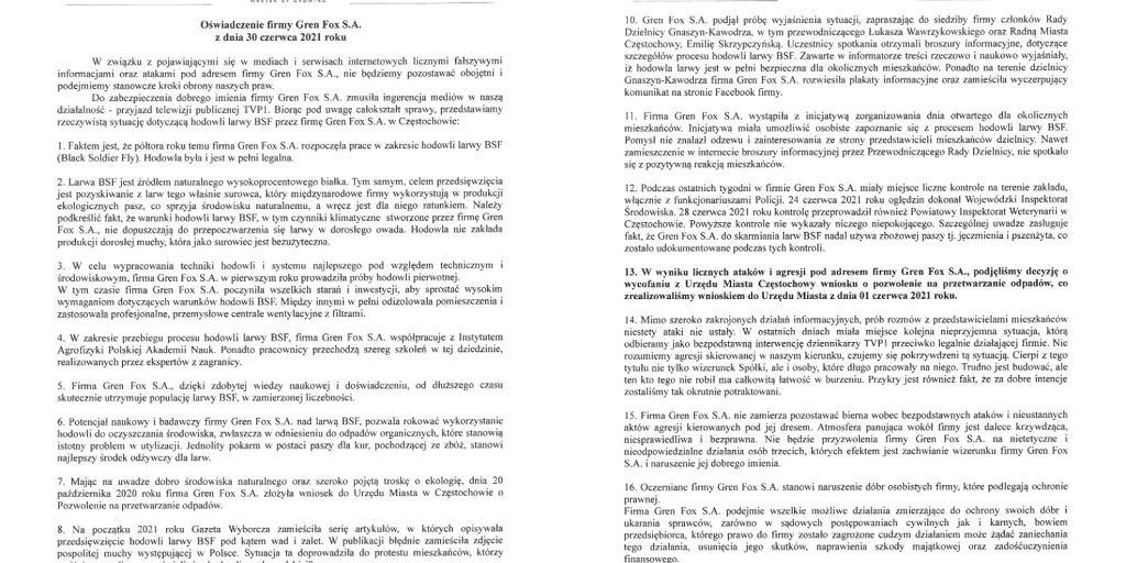 Fragment oświadczenia firmy Gren Fox