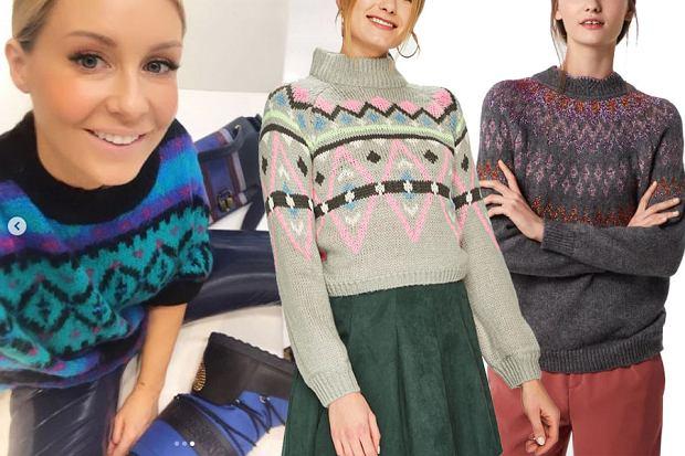 wzorzyste swetry damskie / mat. partnera / www.instagram.com/m_rozenek