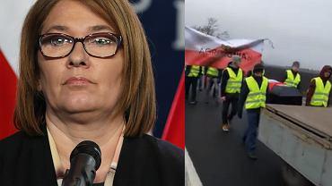 Rolnicy blokują drogi, rzecznikcza PiS zabrała głos