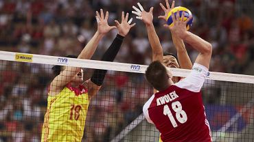 Bartosz Kwolek (nr 18) w meczu Polski z Chinami