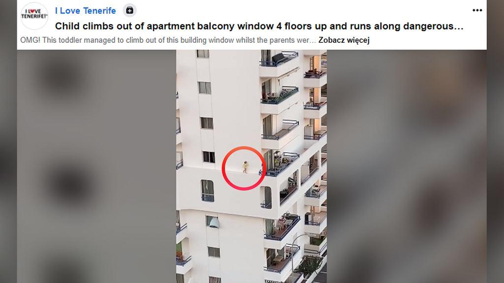 Dziecko spacerowało po gzymsie. Wyszło przez okno
