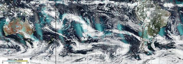 Trasa przemieszczania się chmury pyłu/NASA