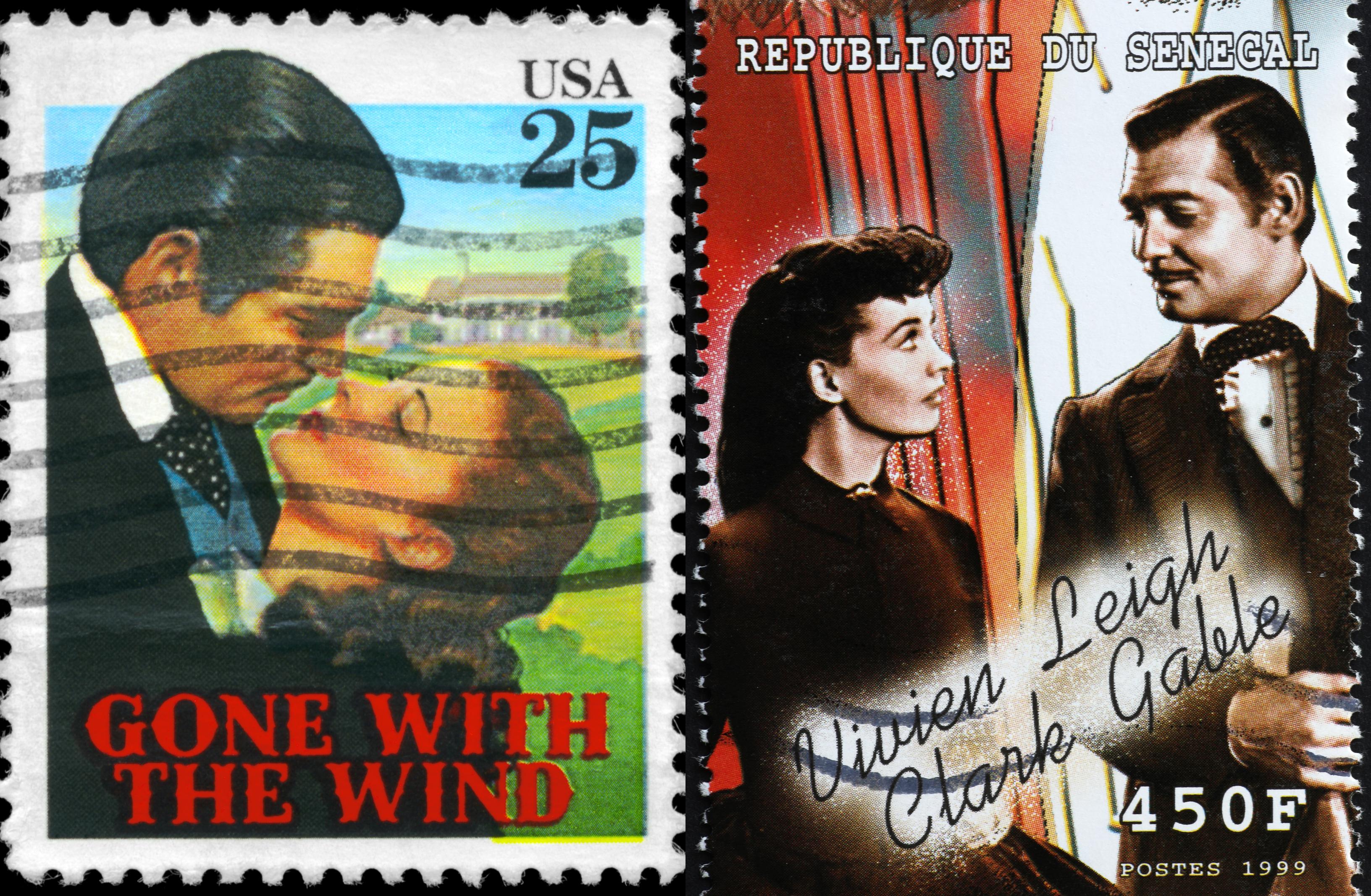 Vivien Leigh i Clark Gable na znaczkach pocztowych (fot. Shutterstock)