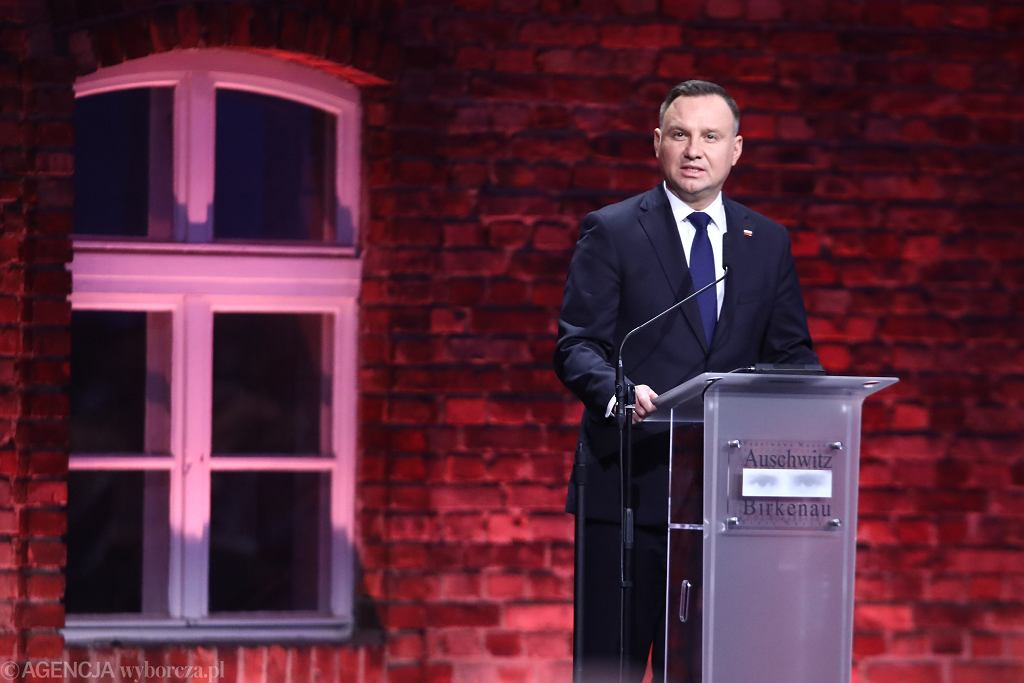 Prezydent Andrzej Duda podczas obchodów 75. rocznicy wyzwolenia Auschwitz - Birkenau.