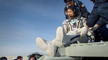Christne Koch po lądowaniu w Kazachstanie