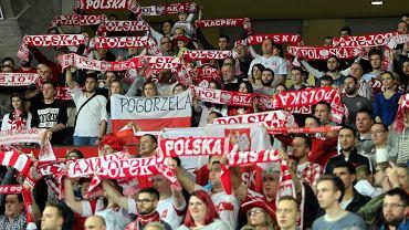 Kibice reprezentacji Polski podczas meczu w Hali Stulecia