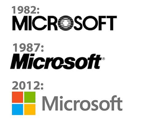 Logo Microsoftu - ewolucja