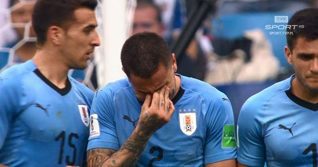 Jose Gimenez płacze podczas meczu z Francją
