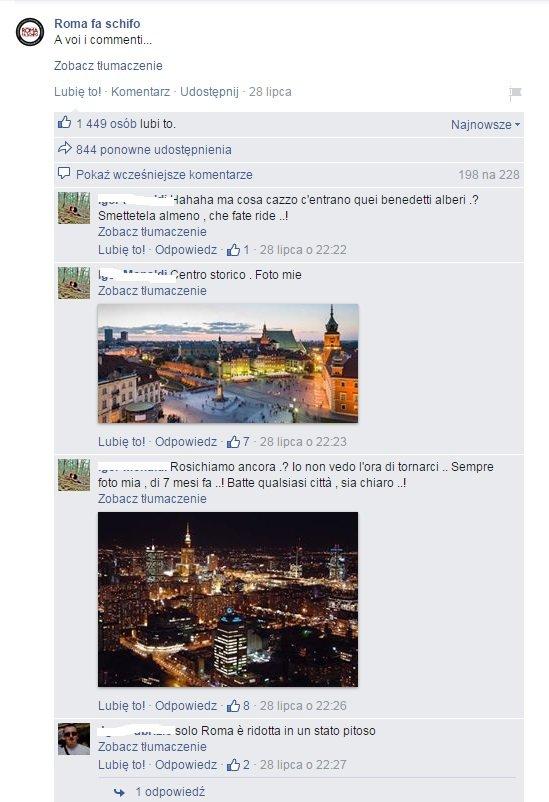 komentarze włoskich internautów na temat Warszawy