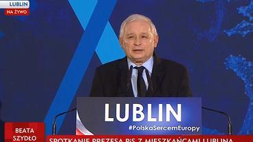 Jarosław Kaczyński podczas przemówienia w Lublinie