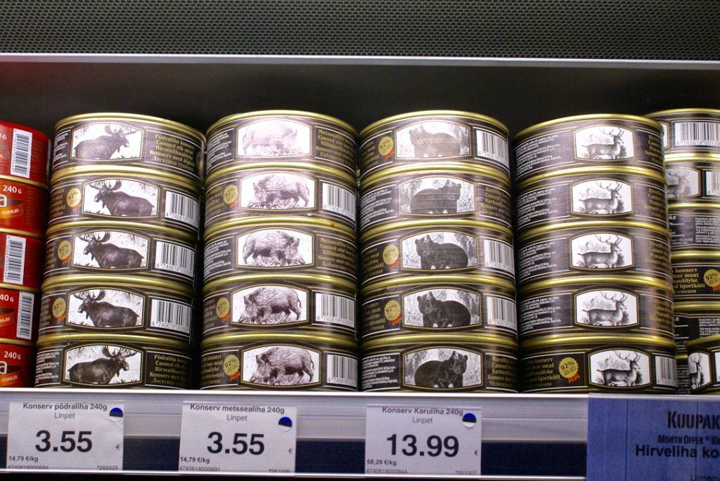 Estońskie konserwy z łosia, dzika, jelenia i niedźwiedzia.