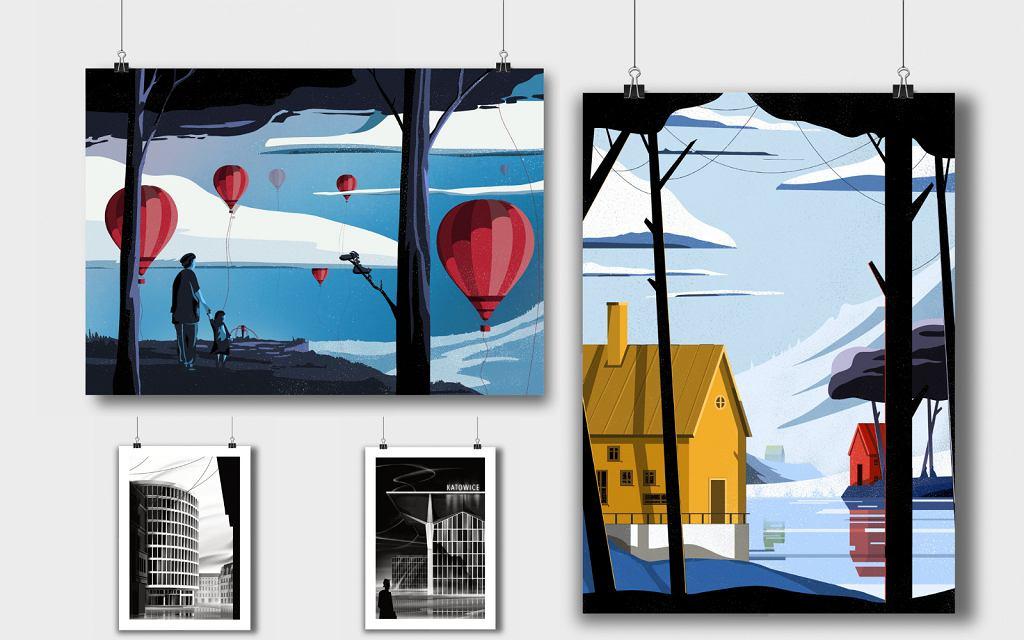Plakaty w wykonaniu Adama Kosika, które są częścią wystawy TRŁ 2021.