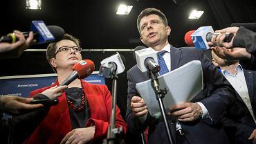 Katarzyna Lubnauer i Ryszard Petru na konferencji prasowej 15 marca w Lublinie