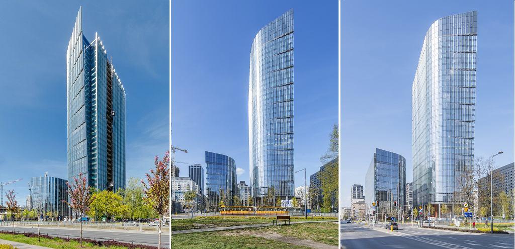 Wieżowiec Mennica Legacy Tower widziany z trzech różnych kątów od strony ul. Prostej