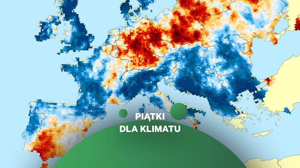 Anomalia liczby deszczowych dni w Europie w 2019 roku