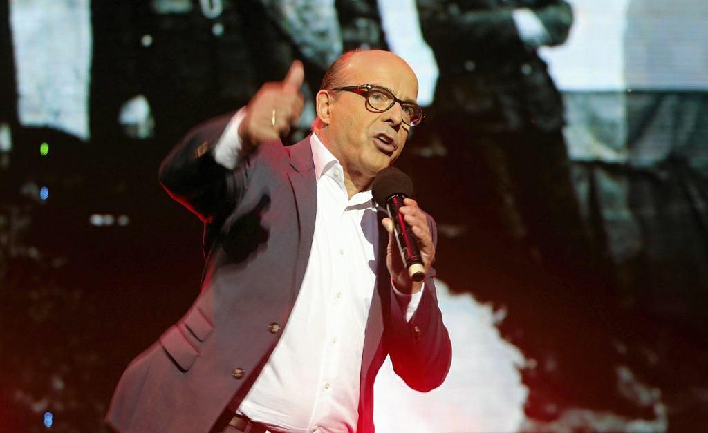 Jan Pospieszalski podczas koncertu w hołdzie powstańcom sląskim. Sosnowiec, 3 maja 2016