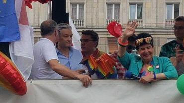 Robert Biedroń i Włodzimierz Czarzasty na platformie SLD podczas Parady Równości
