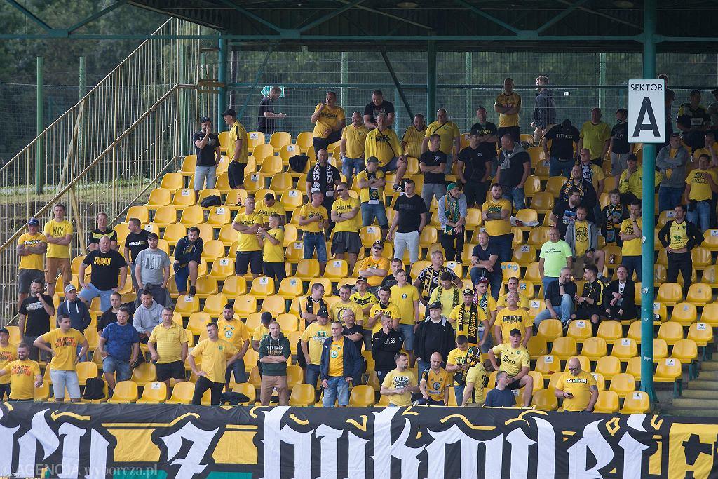 Kibice GKS-u Katowice na meczu z Widzewem