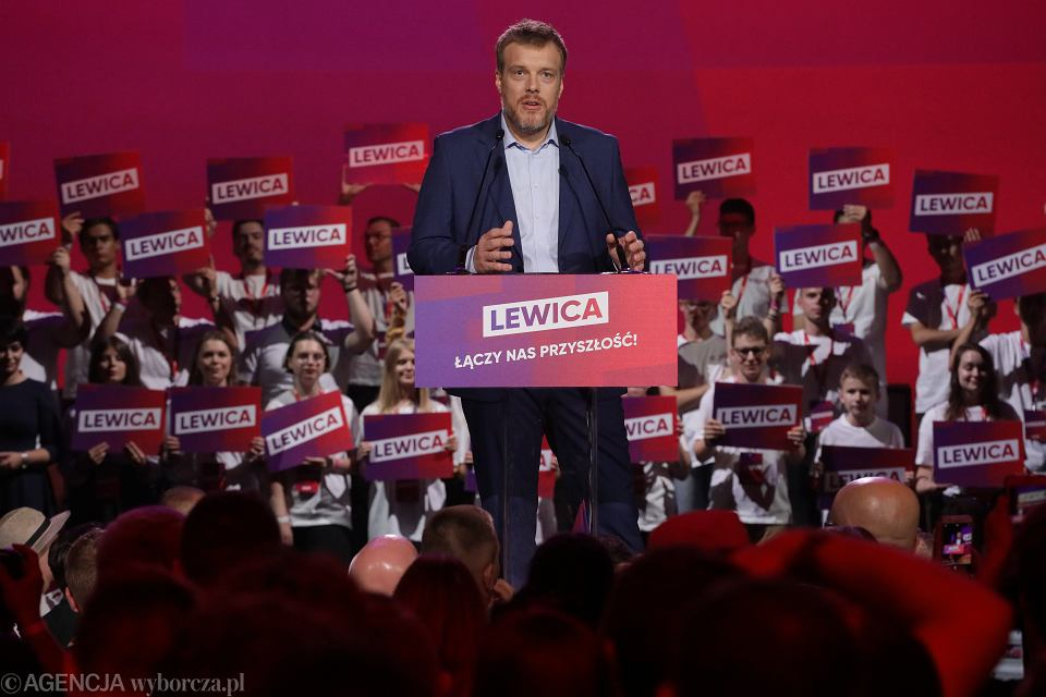 Adrian Zandberg na konwencji programowej Lewicy, Warszawa, 24.08.2019