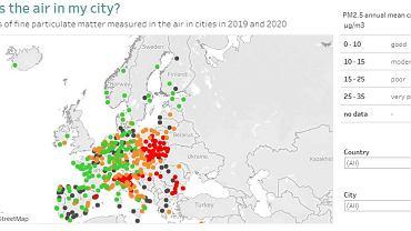 Średnia jakość powietrza w Europie w 2019-2020 r.