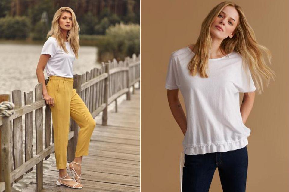 Wygodne spodnie i biała koszulka to podstawowe elementy kobiecej garderoby
