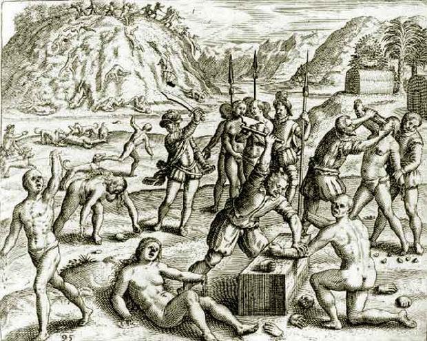 Żołnierze Kolumba obcinający dłonie Arawakom