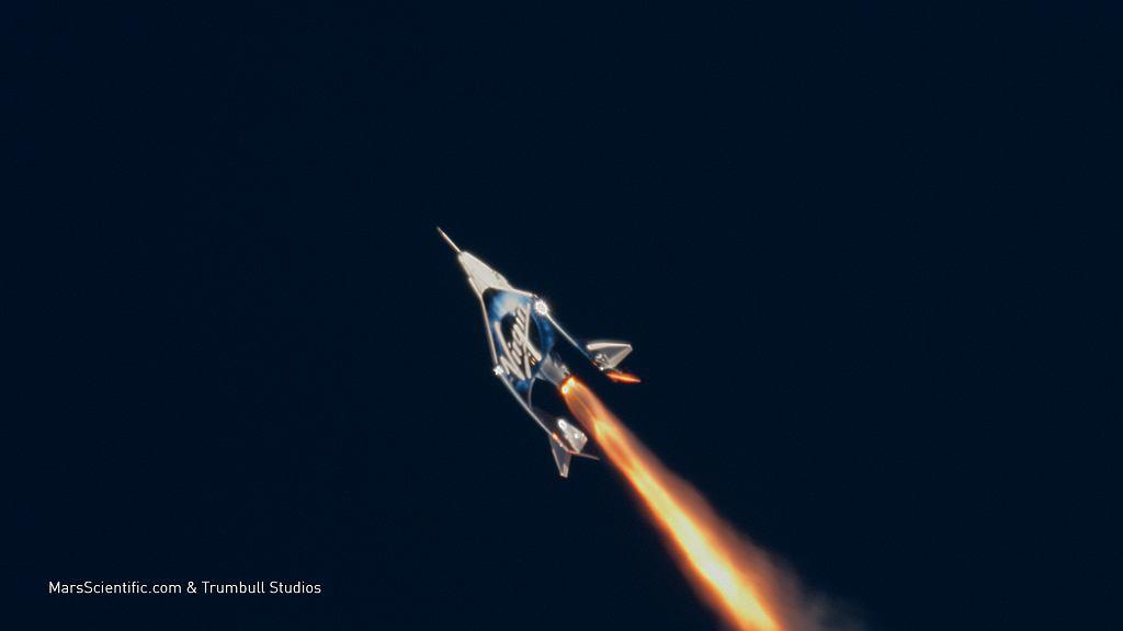 VSS Unity podczas fazy lotu z włączonym silnikiem rakietowym