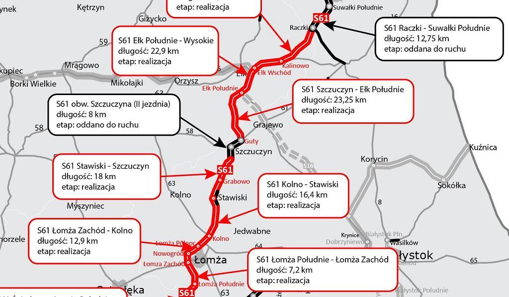 Via Baltica, S61, mapa odcinków