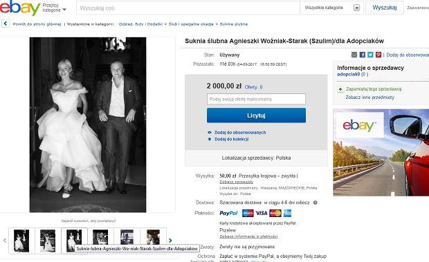 Licytacja sukni ślubnej Agnieszki Woźniak-Starak